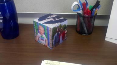The photo cube for Daddy's desk, from C.