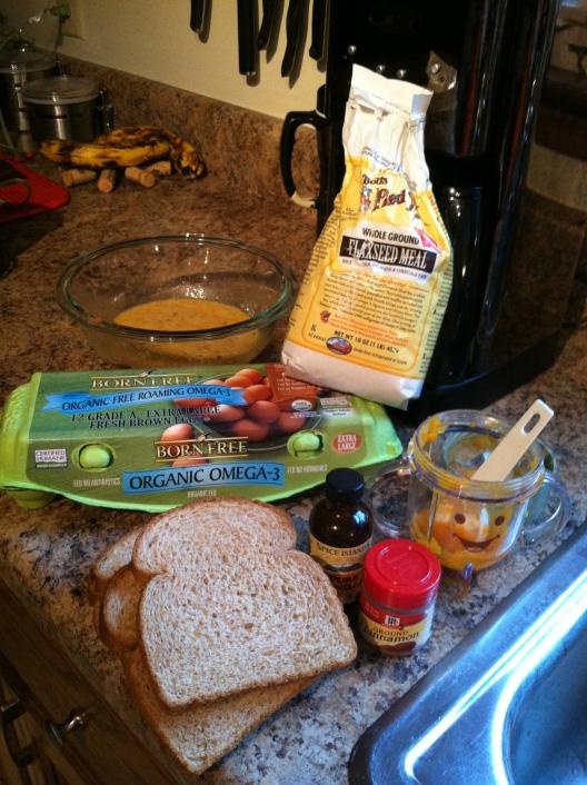 Brioche! Eggs, veggie puree, flax meal, cinnamon, vanilla