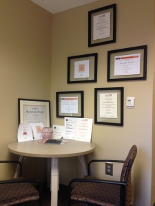 My wall of awards. happy to be part of a good team