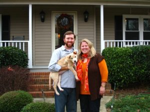 "Our first home we purchased together with our first ""baby"" Grover. ANd pregnant at the time with our first son Cohen."